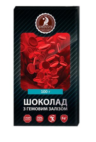 Шоколад Shoude 100г чорний з гемовим залізом