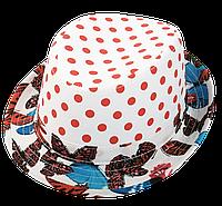 Шляпа детская челентанка комби горох красный+бабочки