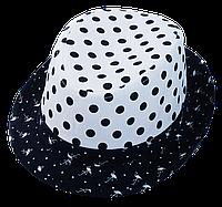 Шляпа детская челентанка комби горох синий+белый фламинго