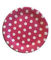 Бумажные тарелки диам.18см Розовые в горошек(уп.10шт)