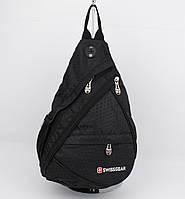 Рюкзак слинг через плечо SwissGear 1007 черный с  выходом для наушников