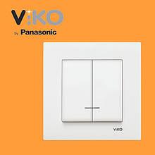 Вимикач 2-х клавішний з підсвіткою VIKO Karre Білий