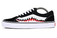 Мужские кеды Vans x Bape Shark Mouths Tooth Black Old Skool (Реплика ААА+)