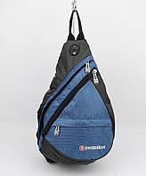 Рюкзак слинг через плечо SwissGear 1007 синий с выходом для наушников