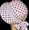 Детская шляпка Лиза кружева красные горохи