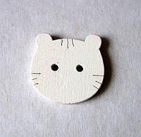 Пуговица деревянная, декоративная. Голова кота, 20х20 мм
