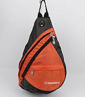 Рюкзак слинг через плечо SwissGear 1007 оранжевый с выходом для наушников, фото 1