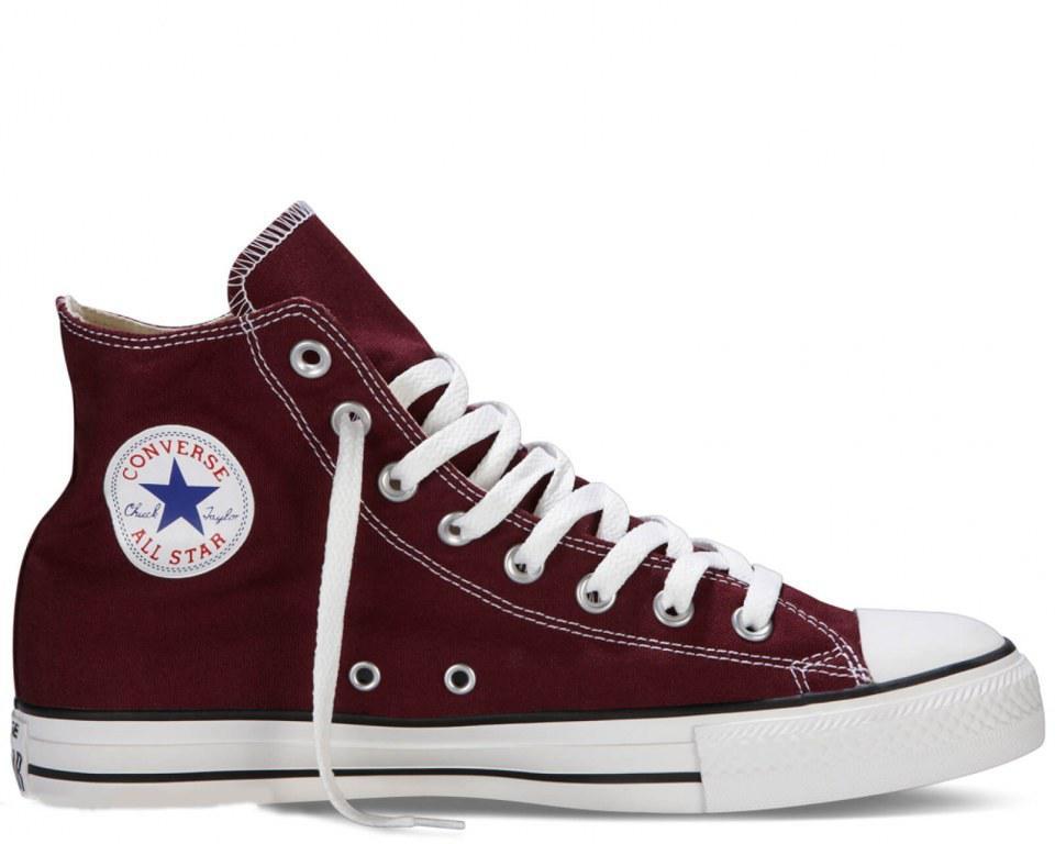 "Кеди Converse All Star Chuck Taylor High ""Bordo"". Кеди Converse в бордовому кольорі. Високі кеди converse."