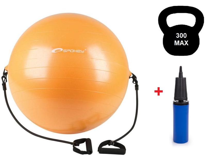 Гимнастический мяч для спорта 65 см, фитбол, мяч для фитнеса Spokey Fitball с эспандером и насосом