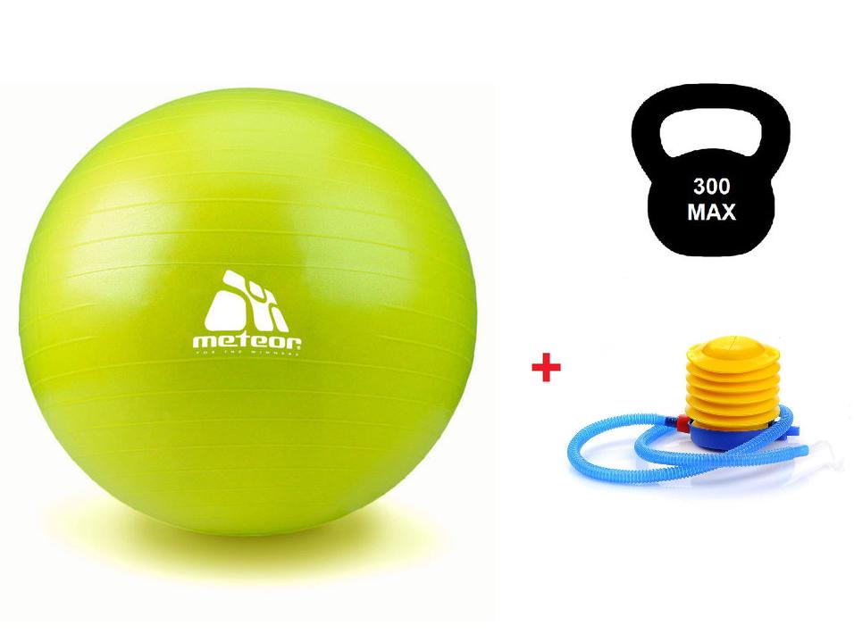 Мяч для фитнеса с насосом METEOR 55 см (original), фитбол, гимнастический мяч