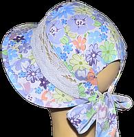 Детская шляпка Лиза кружева симфония голубая
