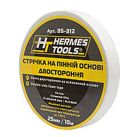 Лента двухсторонняя на вспененной основе Hermes Tools 25 мм х 10 м х 1 мм белый