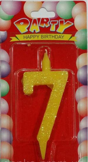 Свеча цифра цветная 7 (семёрка)