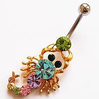 """Для пирсинга пупка """"Скорпион"""". Медицинская сталь, цветные кристаллы., фото 1"""