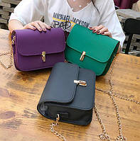 Элегантная матовая сумка клатч на цепочке Кожаный женский аксессуар со стильной защелкой  Код: КГ4479