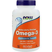 Омега 3, Omega-3, Now Foods, 180 EPA/120 DHA, 200 капсул