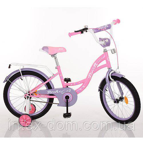 """Двухколесный велосипед Profi Butterfly 18"""" Розовый (Y1821)"""