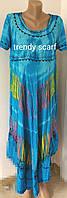 Женская летняя туника, сарафан Ламбада. Голубой, фиолетовый, салатовый, сиреневый. Вискоза. Индия