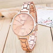 Роскошные женские часы GENEVA Женева сталь розовое золото Женева