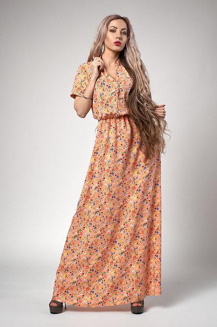 7082a11b978e4f8 Длинное платье на лето персикового цвета размер: 44 - Интернет-магазин  стильной одежды