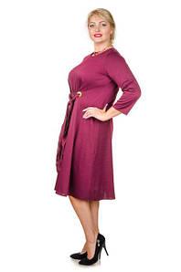 Платье большого размера Карла с рукавами три четверти и поясом52-62 р