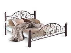 Кровать кованая Жозефина с деревянными ногами фабрика Металл дизайн, фото 2