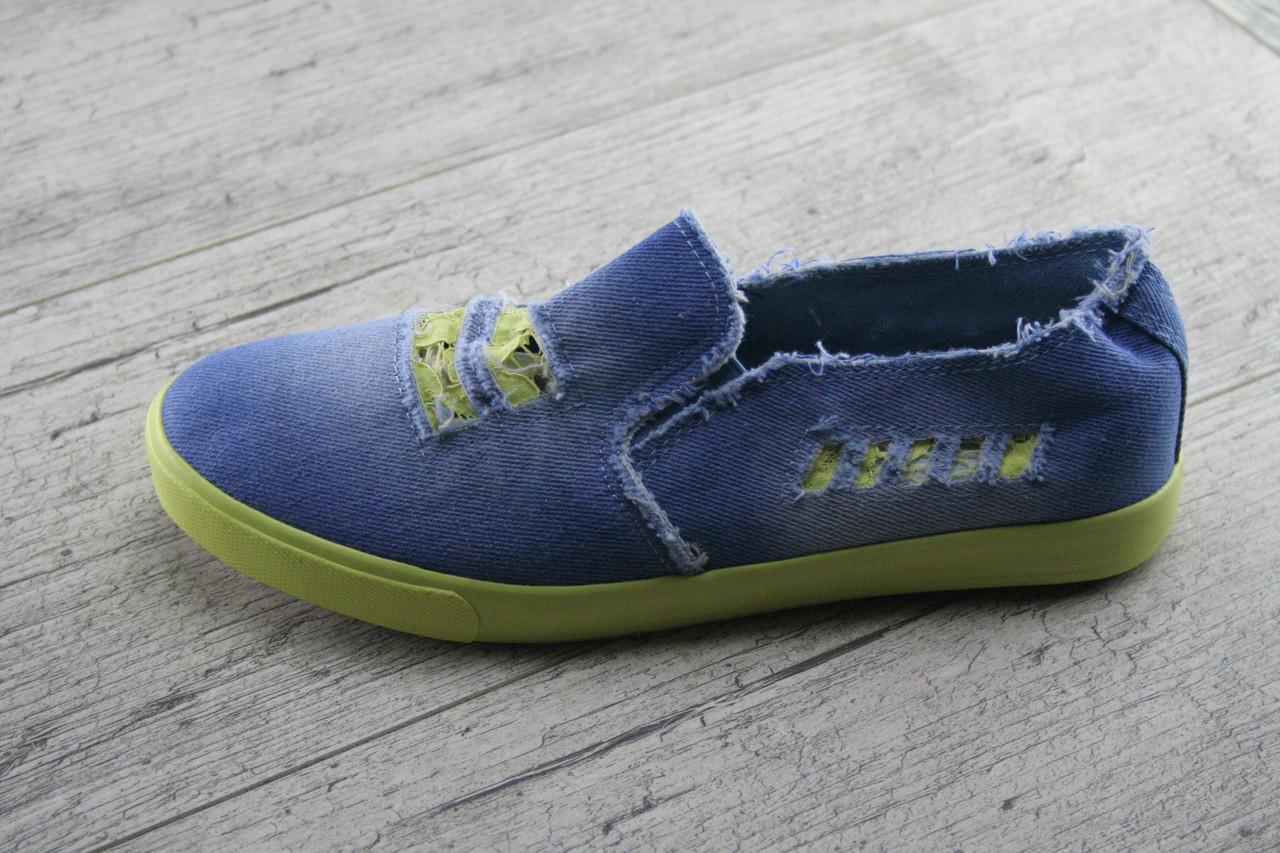 Слипоны, кеды, мокасины женские джинс Moli, весенняя, летняя, повседневная обувь