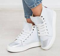 Модные кожаные кеды зимние высокие белые с серебристым напылением dbb4f4ecf85