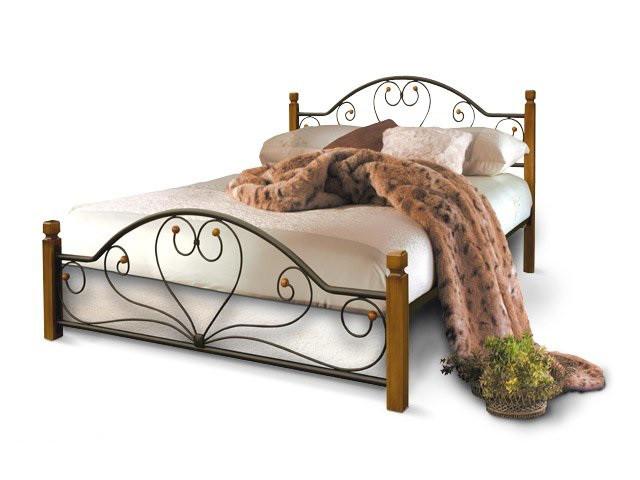 Кровать кованая Джаконда с деревянными ногами фабрика Металл дизайн