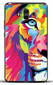 Бампер силиконовый для Huawei honor mate 10 с картинкой цветной лев