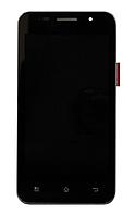 Оригинальный дисплей (модуль) + тачскрин (сенсор) с рамкой для Prestigio MultiPhone 4322 Duo (черный цвет)