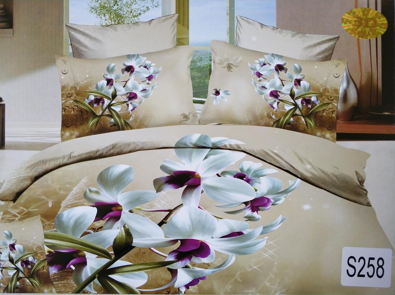 Сатиновое постельное белье евро 3D ELWAY S258