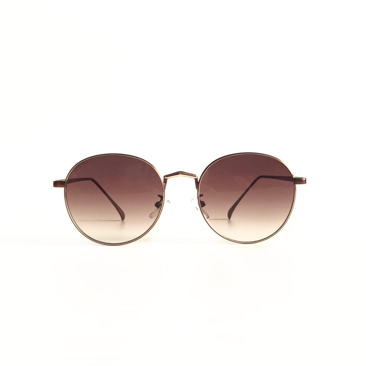 4abccc6ad5b2 Женские круглые солнцезащитные очки в медной оправе с коричневыми линзами
