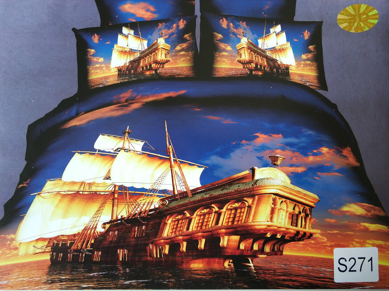 Сатиновое постельное белье евро 3D ELWAY S271