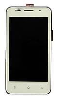 Оригинальный дисплей (модуль) + тачскрин (сенсор) с рамкой для Prestigio MultiPhone 4322 Duo (белый цвет)