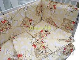 """Постільний набір в дитячу ліжечко (8 предметів) Premium """"Ведмедики сплять"""" жовтий"""
