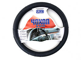 Чехол руля черный (прошит черной ниткой), размер M (37-39 см) - Чехол на рулевое колесо Vitol