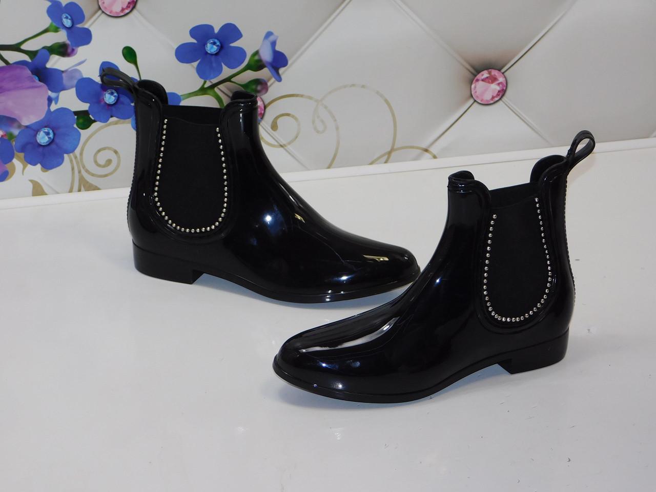 bac4a9ca8 Ботинки резиновые женские Челси демисезонные черные со стразами 39 размер -  магазин женской обуви Lady Vogue