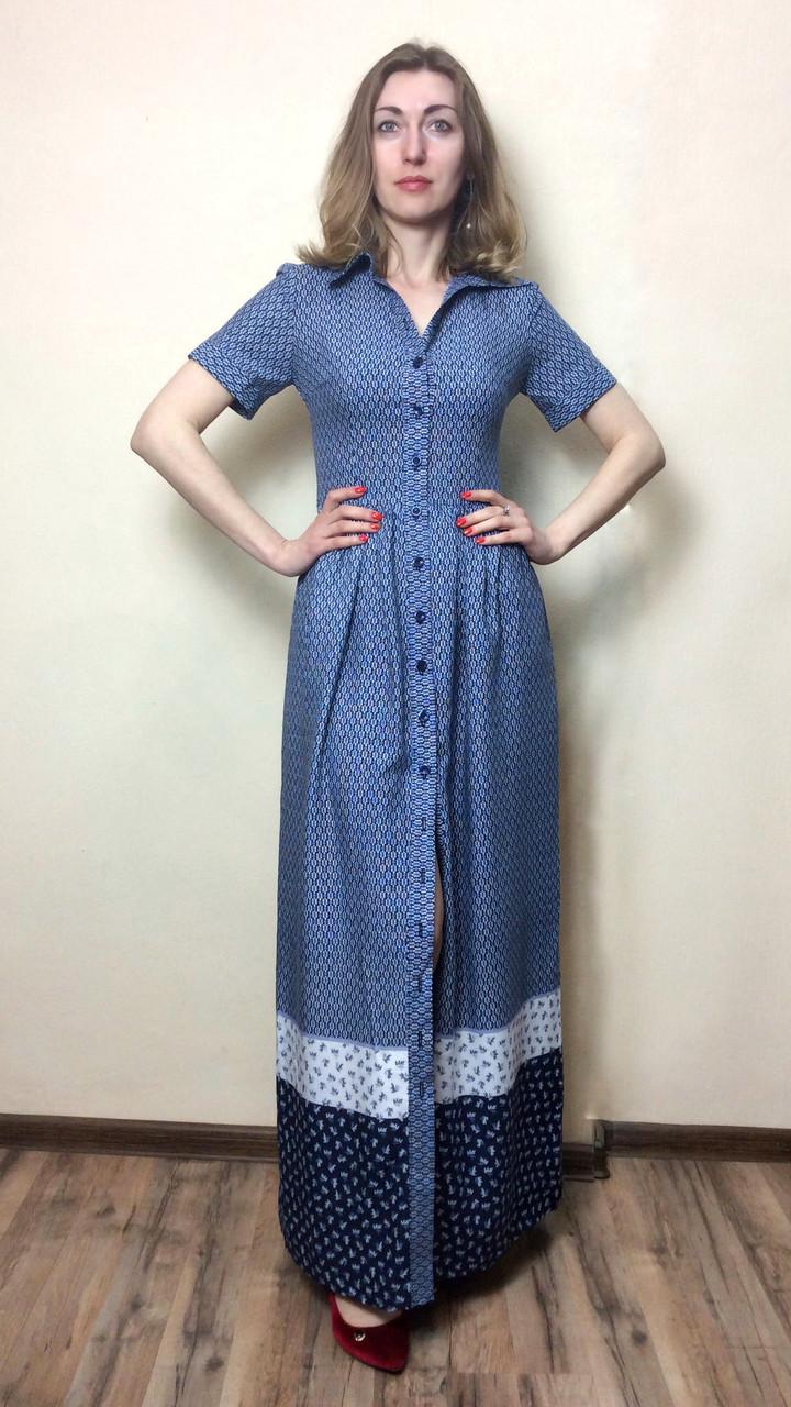 Штапельное длинное платье с карманами П200