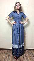 Штапельное длинное платье с карманами П200, фото 1