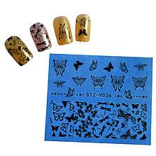 Наклейки для ногтей с бабочками STZ-V036
