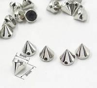 Шипы конусы пришивные 8х8 мм, серебро