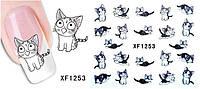"""Наклейки для ногтей детские """"Коты"""" - размер стикера 6*5см, инструкция по применению есть в описании товара"""