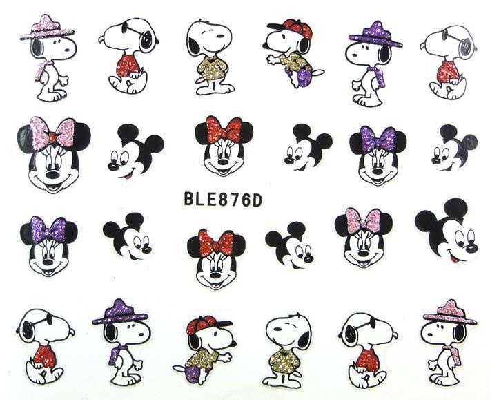 Наклейки для ногтей с Микки Маусами BLE876D