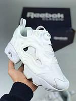 Кроссовки женские белые Reebok Insta Pump White Рибок Инста Памп полностью белые