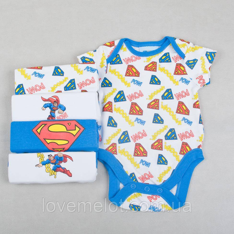 """Детские бодики с коротким рукавом """"Супермен"""", набор 5 шт на рост 56 и 92см бодики для новорожденного"""