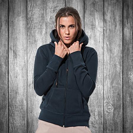 065f044e Женская кофта с капюшоном на молнии темно синяя, кенгуру Stedman - 02201