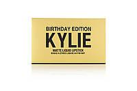 Набор жидких матовых помад для губ Kylie Birthday Edition (В наборе 6 штук)Золото  206