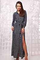 Женское стильное платье-рубашка в пол в горошек, фото 1