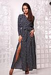 Женское стильное платье-рубашка в пол в горошек, фото 2